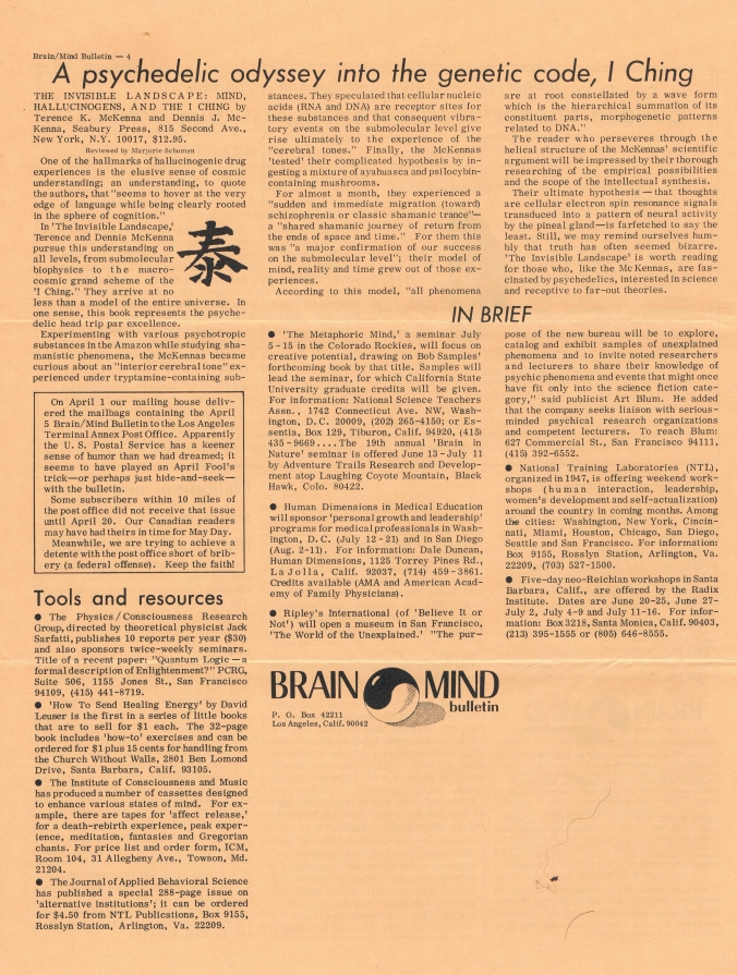 1976 - Brain-Mind Bulletin - The Invisible Landscape Reviewed by Marilyn Ferguson